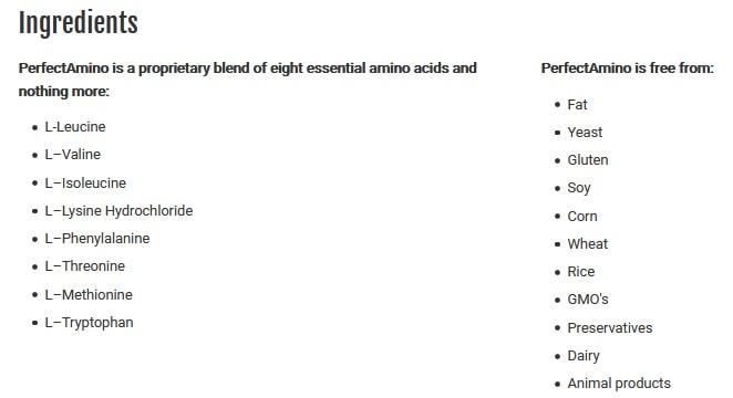 PerfectAmino Ingredients