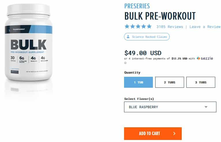 Transparent Labs BULK Pre-Workout Pricing
